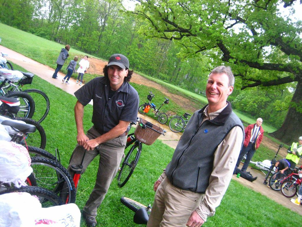 Thomas Jenkins and THMS teacher Jon DeVier-Scott pump tires at Bike to School Day