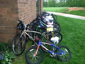 Just some of the many bikes lined up at Thomas Harrison Middle School Wednesday