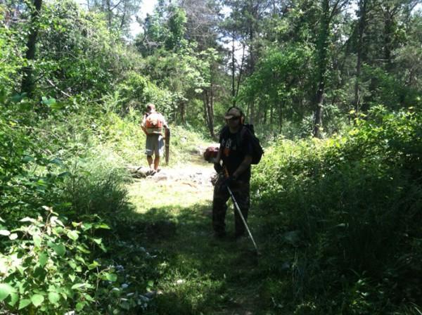 SVBC volunteers Tom Cooper and Jonus Zimmerman working on a hot Saturday!