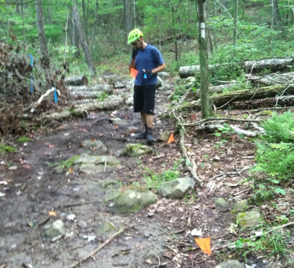 Rich Edwards flagging a work site location on Lookout Mtn.