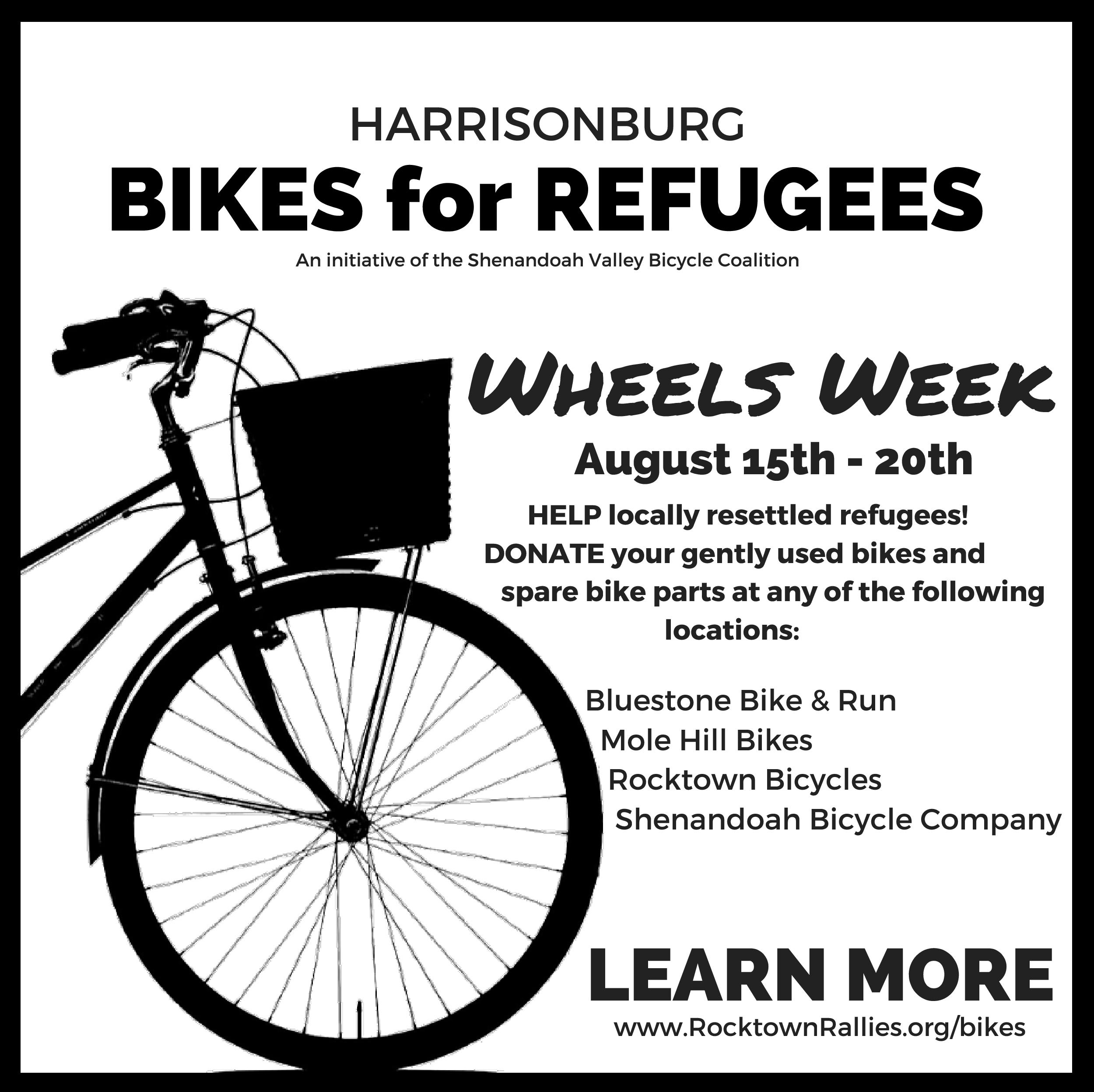8/15-8/20: Donate Old Bikes and Parts - Bicycles for Refugees